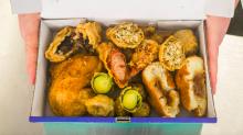 Deep-fried crisp and even: Chip shop owner offers up a festive BATTERED Christmas dinner