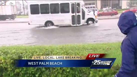 Flooding causing traffic issues in West Palm Beach