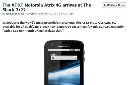 RadioShack offers Atrix 4G for $150 on launch day, undercutting AT&T?