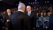 'He's Unstoppable': Mic Catches Pence and Netanyahu Discussing Impeachment at Holocaust Memorial