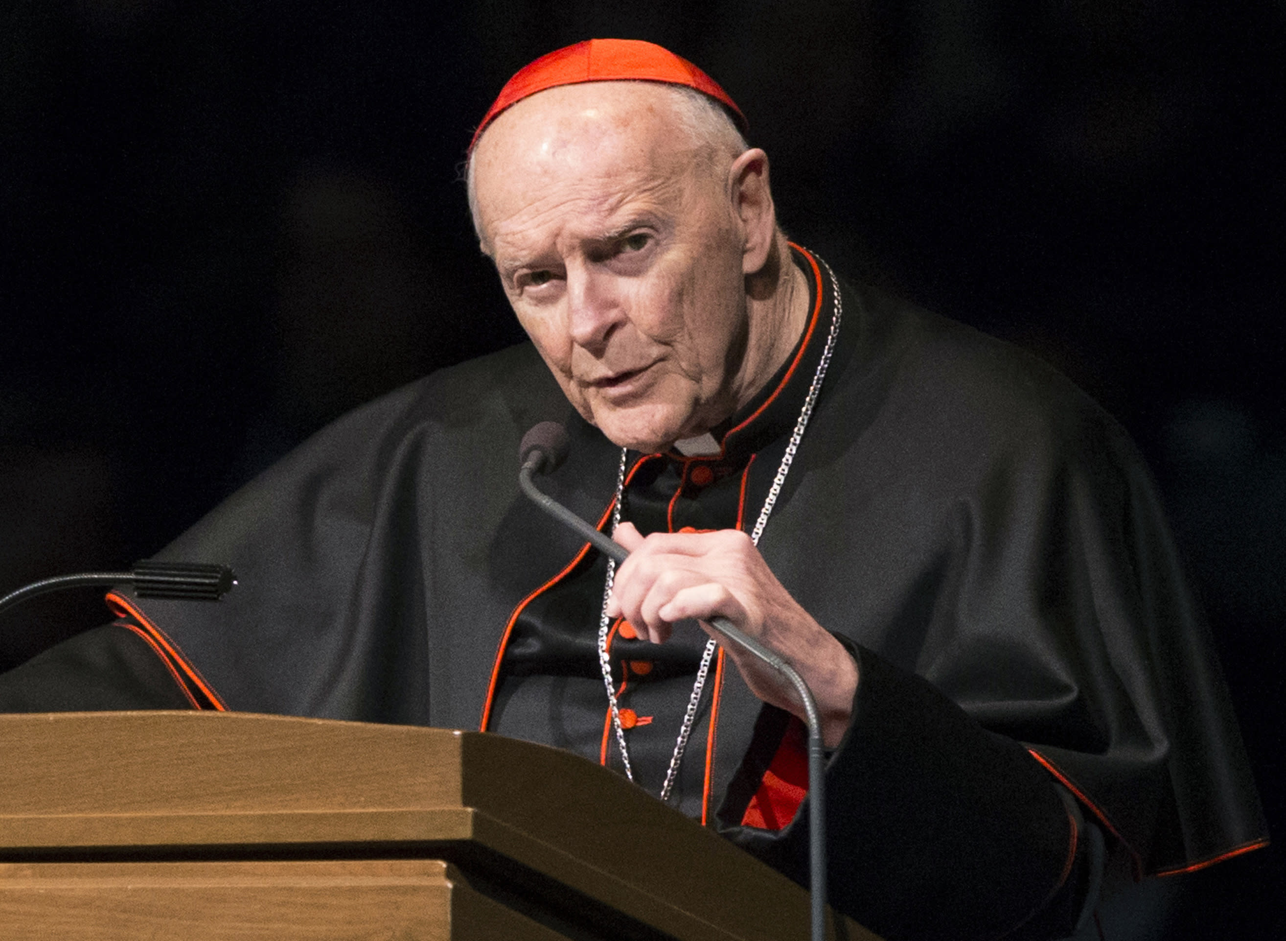 <p> FILE - In this March 4, 2015, file photo, Cardinal Theodore McCarrick speaks during a memorial service in South Bend, Ind. A 2006 letter from Cardinal Leonardo Sandri, a top Vatican official confirms that the Holy See received information in 2000 about the sexual misconduct of now-resigned U.S. Cardinal Theodore McCarrick, lending credibility to bombshell accusations of cover-up at the highest echelons of the Catholic Church (Robert Franklin/South Bend Tribune via AP, Pool, File) </p>