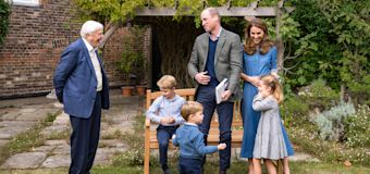 William, Kate and children meet Sir David Attenborough
