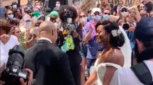 Bride and groom join Black Lives Matter protest straight after wedding