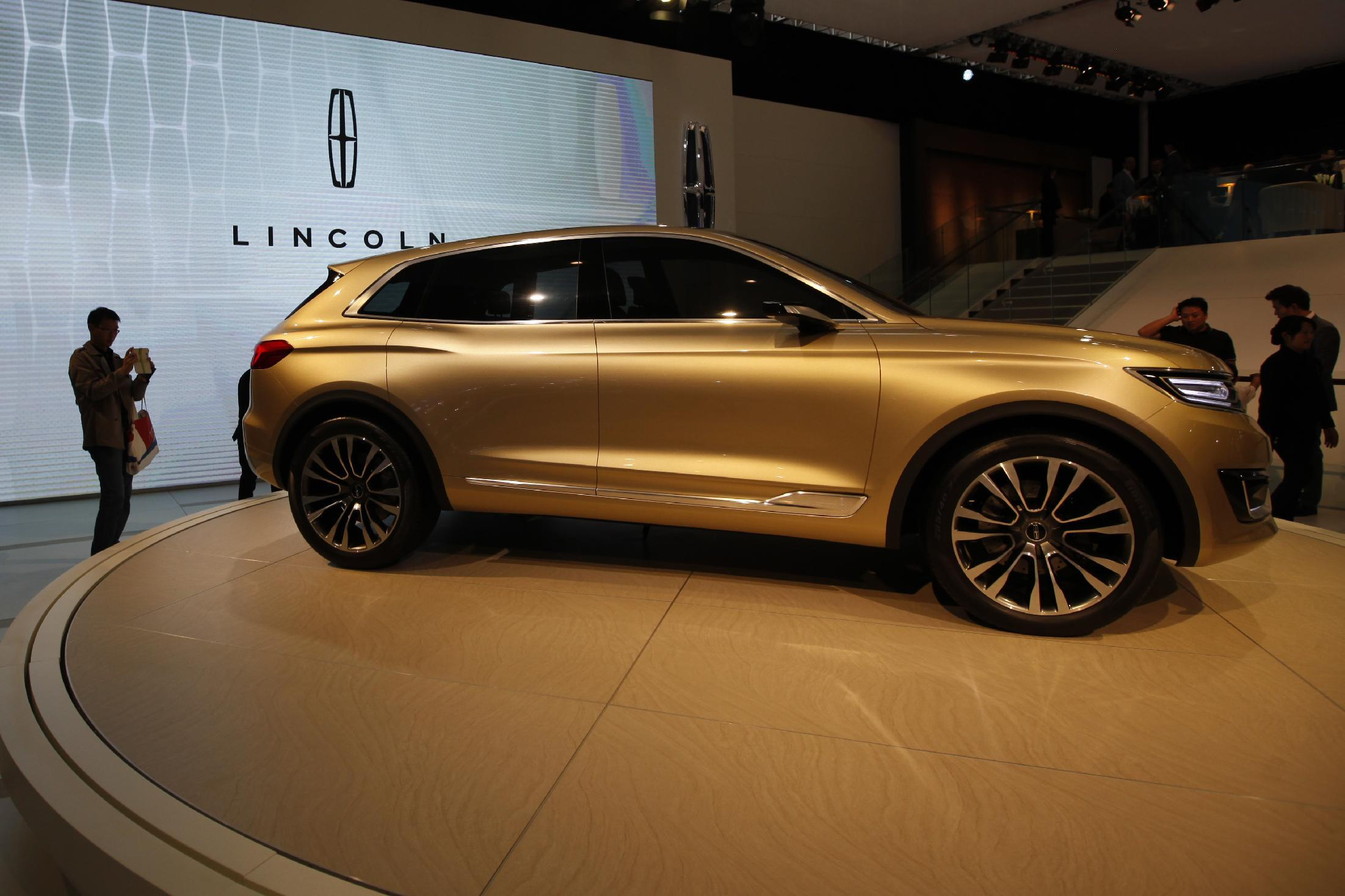 """A Lincoln car is put on display at the """"Auto China 2014"""" exhibition in Beijing in April 2014"""
