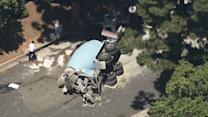 Cement truck hits parked vehicles, overturns in Beverly Hills
