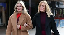 Amanda Holden and Ashley Roberts co-ordinate in short suits on Heart Breakfast radio