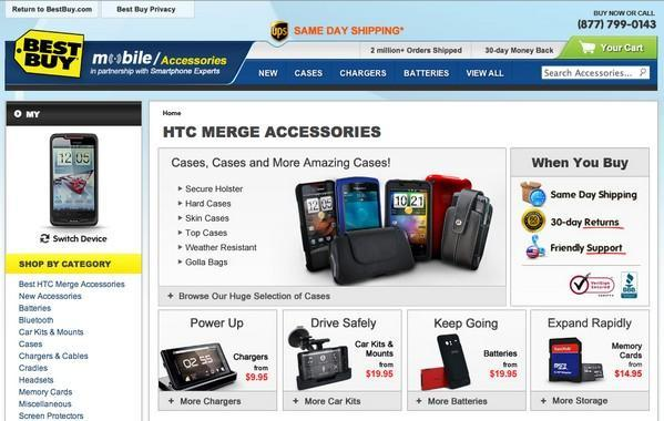 Droid Bionic and HTC Merge hit Best Buy website, accessories galore