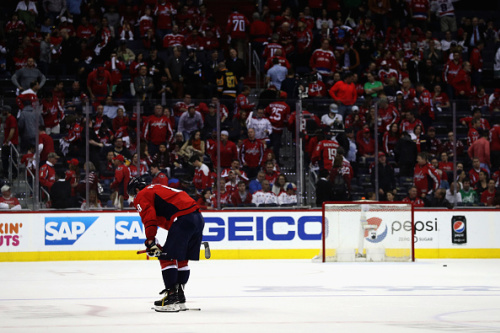 WASHINGTON, DC - MAY 10: Alex Ovechkin #8 of the Washington Capitals skates off the ice following the Capitals 2-0 loss to the Pittsburgh Penguins in Game Seven of the Eastern Conference Second Round during the 2017 NHL Stanley Cup Playoffs at Verizon Center on May 10, 2017 in Washington, DC. (Photo by Patrick Smith/Getty Images)