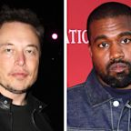 Elon Musk and Kanye West Twin in Orange With Yeezy Sneakers