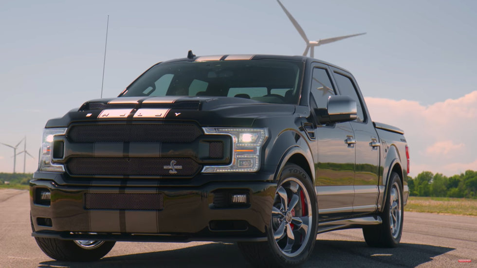 "<p>Sporting a massive grille and a lower stance, the <a href=""https://www.roadandtrack.com/new-cars/a33081973/ford-f-150-shelby-super-snake-review/"" rel=""nofollow noopener"" target=""_blank"" data-ylk=""slk:Super Snake"" class=""link rapid-noclick-resp"">Super Snake</a> is one of the most extreme aftermarket F-150 kits you can buy. The supercharged V-8 under the hood makes 770 horsepower, and it even comes with a three-year warranty. <a href=""https://www.ebay.com/itm/2020-Ford-F-150-Shelby-Super-Snake-Lariat/124244706517?hash=item1ced8fc4d5:g:pxUAAOSwxZtekJFi"" rel=""nofollow noopener"" target=""_blank"" data-ylk=""slk:This one"" class=""link rapid-noclick-resp"">This one</a> has just 10 miles on the clock, and you can own it now. </p>"