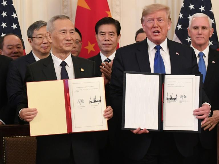 Chinese Vice Premier Liu He said the agreement he signed with Donald Trump 'considerably addressed the concerns of both sides' (AFP Photo/SAUL LOEB)