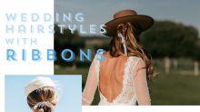 Less is More!簡單一條絲帶,打造出層次截然不同的新娘髮型!