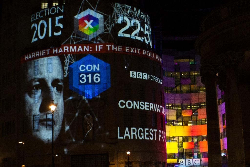 An exit poll predicting that the Conservative Party led by Prime Minister David Cameron will be the largest party with 316 seats is projected onto BBC Broadcasting House, Portland Place in London on May 7, 2015 (AFP Photo/Jack Taylor)
