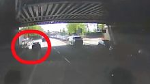 Shocking footage shows driver deliberately swerving to hit cyclist