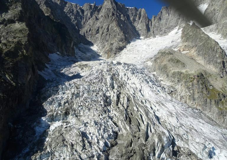 The Planpincieux glacier, on the Grandes Jorasses peak of the Mont Blanc massif, melted more than usual in the late-summer heat (AFP Photo/HO)