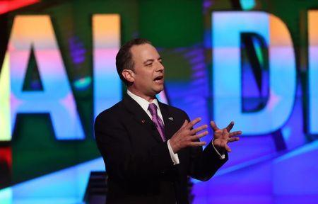 Republican National Committee Chairman Reince Priebus speaks to the audience at the Republican U.S. presidential candidates debate sponsored by CNN at the University of Miami in Miami