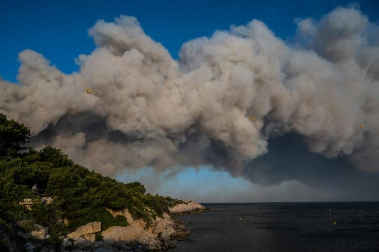 The fires have ravaged about 1,000 hectares (2,500 acres) of vegetation are threatening residential areas and campsites near the coast (AFP Photo/Xavier LEOTY)