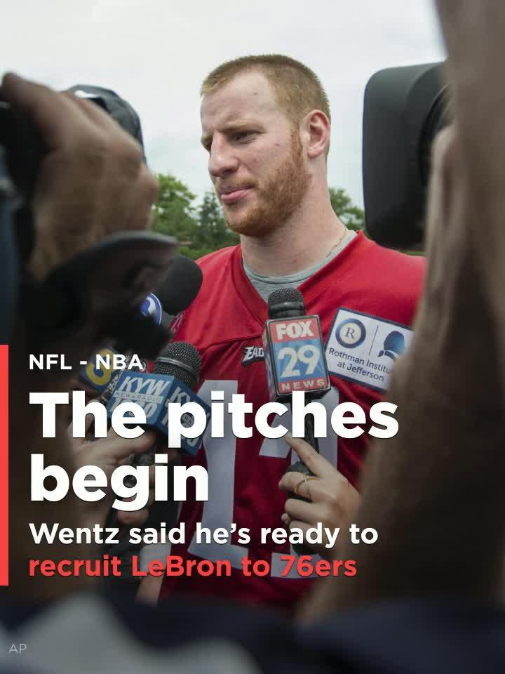 6ad086a86 Carson Wentz on if he d help the 76ers recruit LeBron James