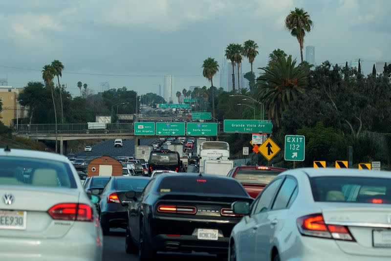 FILE PHOTO: Morning traffic makes its way along a Los Angeles freeway in Los Angeles,