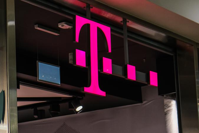 KRAKOW, POLAND - 2020/12/09: A T mobile logo is seen inside a shopping mall. (Photo by Omar Marques/SOPA Images/LightRocket via Getty Images)