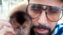 Latino posa com Ana Paula, sua nova macaca de estimação