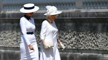 Melania Trump compared to 'My Fair Lady' after meeting the queen in white dress and hat