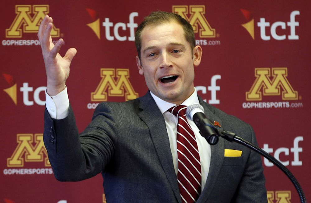 P.J. Fleck was introduced as Minnesota's new head coach on Friday. (AP Photo/Jim Mone)