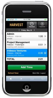 Harvest clocks in on the iPhone