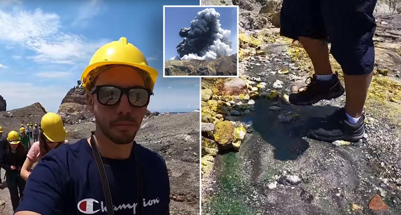 Video shows the moment tour guide realises volcano could explode any second