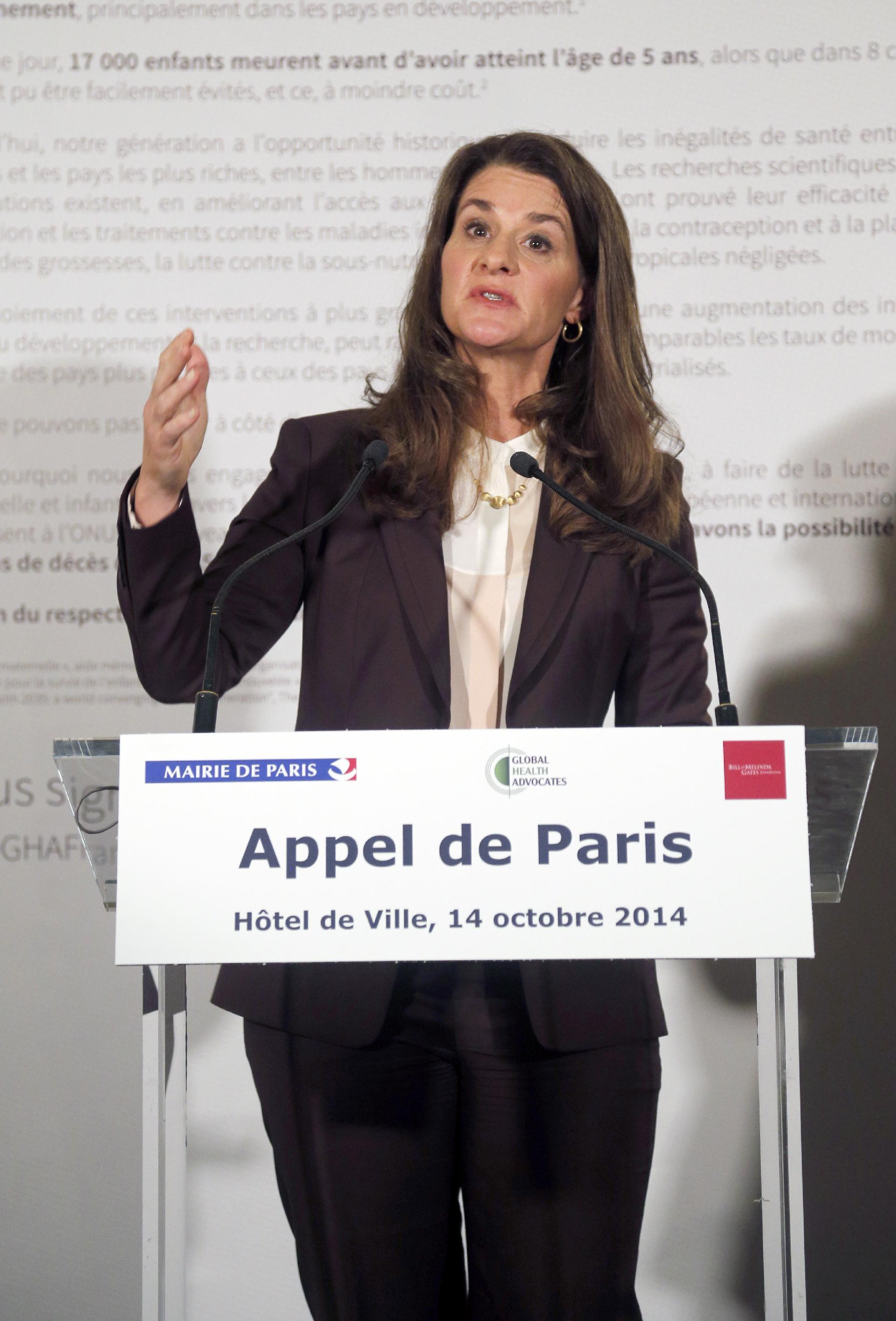 Co-chair of the Bill and Melinda Gates Foundation, Melinda Gates, speaks during a meeting in Paris on October 14, 2014, that aimed at gathering support for women and girls in development (AFP Photo/Francois Guillot)