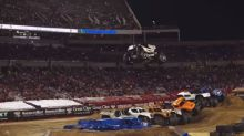 Watch a monster truck jump seven other monster trucks and forget everything bad in the world