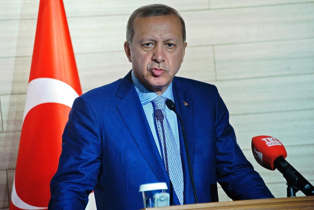 """President Recep Tayyip Erdogan sparked outrage by suggesting that Syrians could eventually be granted Turkish citizenship """"if they want it"""" (AFP Photo/Mohamed Abdiwahab)"""