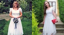 Teenager wears her mum's 1998 wedding dress to prom to save money
