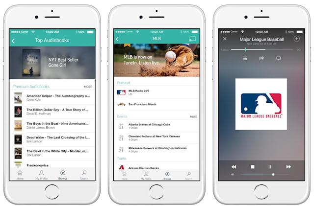 TuneIn Premium streams live sports, music and audiobooks for $8 a month