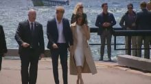 Prince Harry and Meghan arrive by yacht for tour of Sydney Opera House