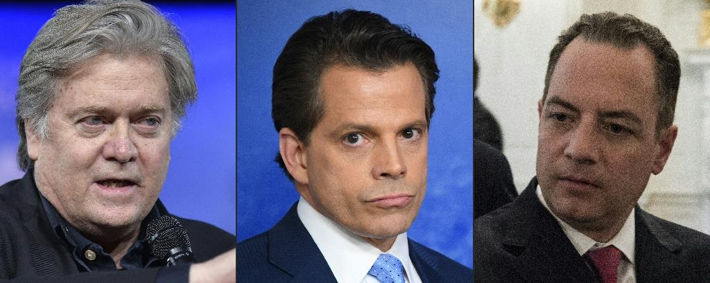 Early casualties of the trump administration: chief strategist Steve Bannon, communications director Anthony Scaramucci, and chief of staff Reince Priebus. (AFP Photo/Mike Theiler, JIM WATSON , Brendan Smialowski)