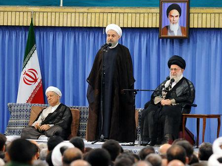 (R L) Iran's Supreme Leader Ayatollah Ali Khamenei, Iranian President Hassan Rouhani, and former Iranian president Akbar Hashemi Rafsanjani attend Supreme LeaderÕs meeting with authorities of the country and ambassadors of Islamic countries, in Tehran, Iran July 6, 2016. President.ir/Handout via REUTERS