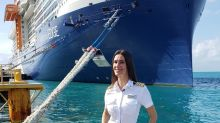 America's first female captain of a mega cruise ship has been at sea for 310 days. She wouldn't want it any other way.