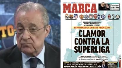 Florentino Pérez ataca a 'Marca' en 'El Chiringuito' por su portada contra la Superliga