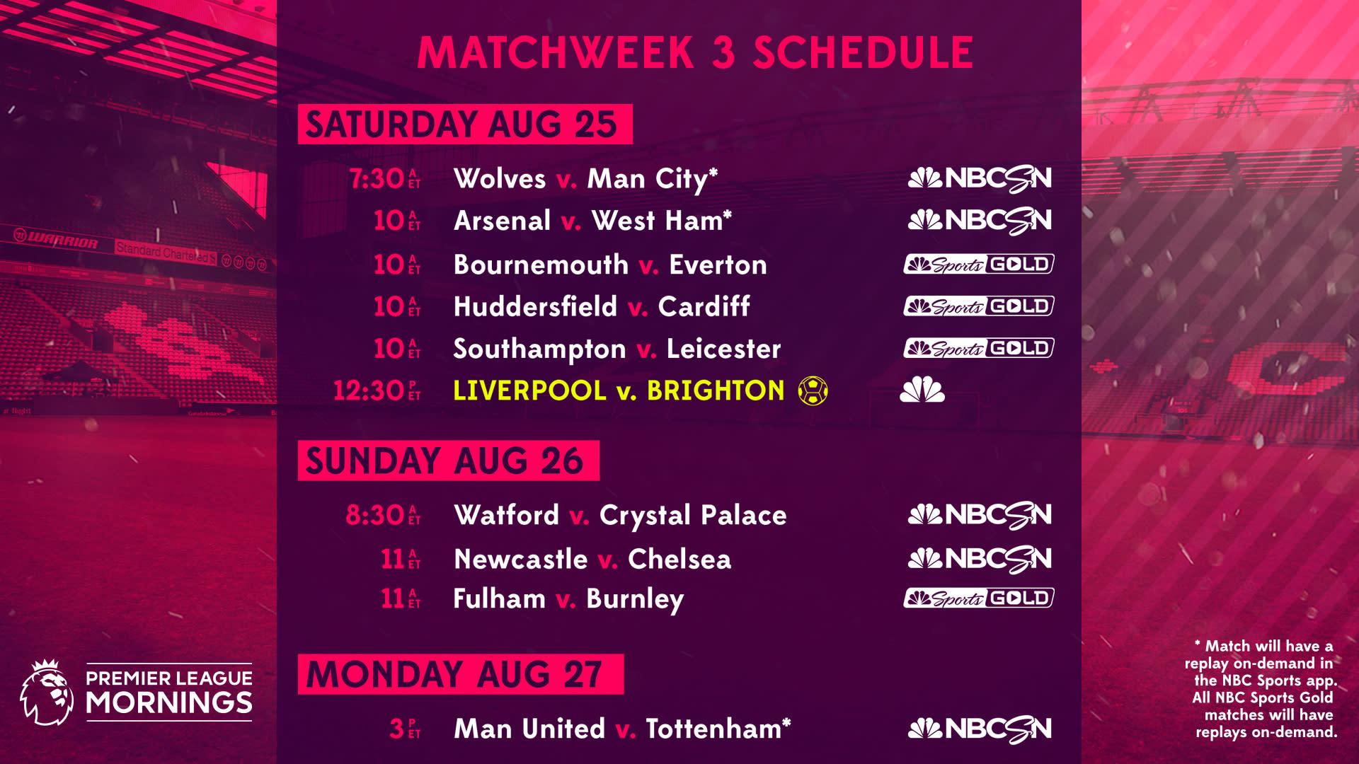 premier league tv schedule: week 3