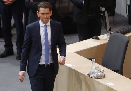 FILE PHOTO: Chancellor Kurz of the OeVP attends a session of the parliament in Vienna