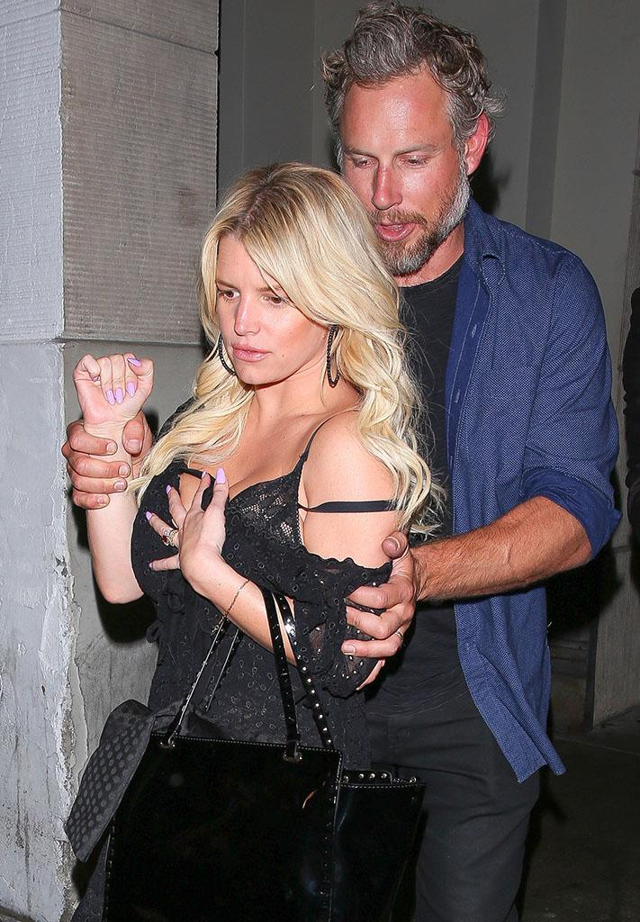 Jessica Simpson and Eric Johnson seen leaving the Sayers Club in Hollywood on June 15.