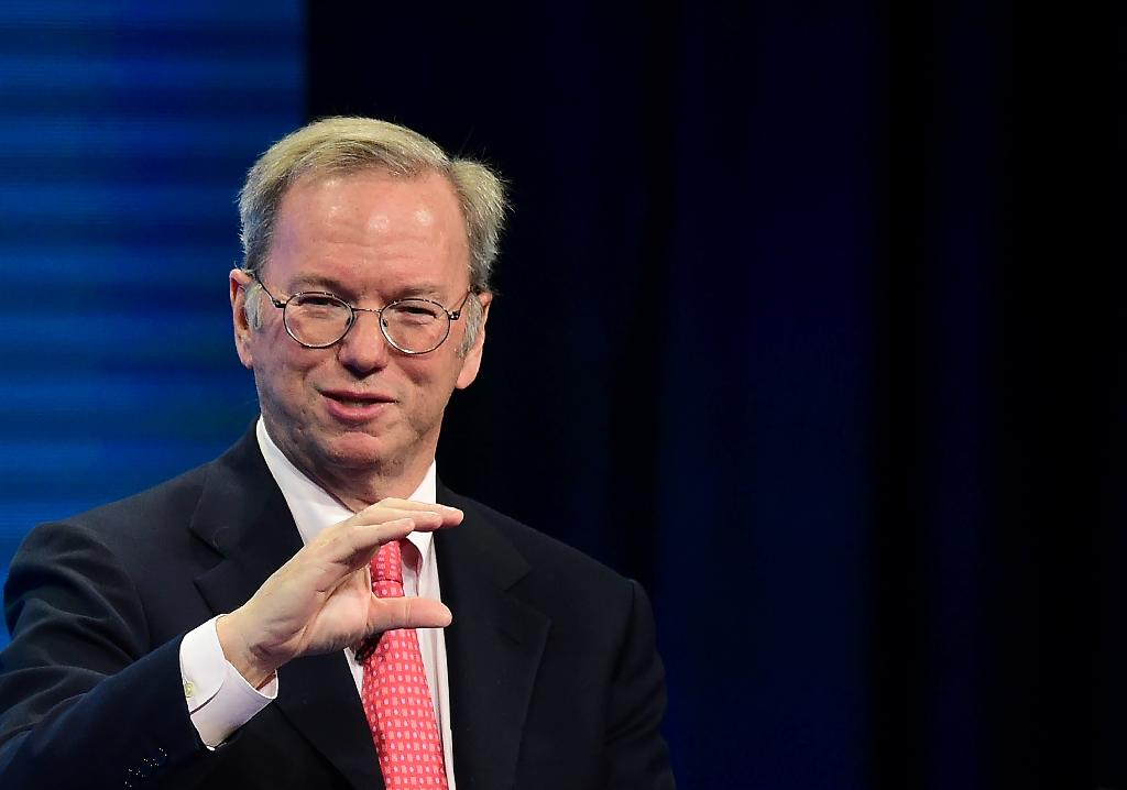 Eric Schmidt, Executive Chairman, Alphabet, pictured on May 2, 2016, revealed he had an iPhone -- made by his rival -- in his pocket as well as a Samsung (AFP Photo/Frederic J. Brown)