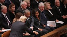 Trump, Obama, Clinton and Carter, all in a row at Bush funeral