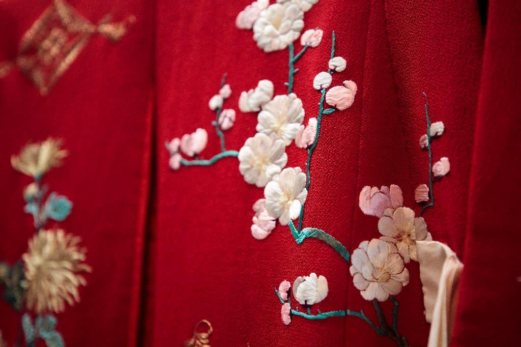 Detail of a kimono worn by Japanese princess Nobuko, eighth daughter of late Emperor Meiji, at the Kimono Museum near Tokyo (AFP Photo/Behrouz MEHRI)