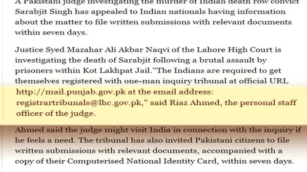 Pakistan judge asks for information on Sarabjit