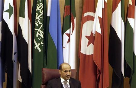 President of the Syrian National Coalition Jarba attends the Arab foreign ministers' meeting in Cairo