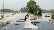 Bride stranded by NSW floods shares breathtaking wedding photos