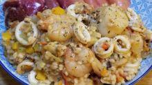 芝味蕃茄海鮮彩椒意大利飯~珍珠米都可以變意大利飯♡