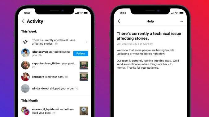 """Um exemplo de notificação do Instagram dizendo """"atualmente há um problema técnico afetando as histórias."""""""